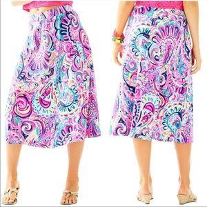 Lilly Pulitzer Shia Midi Skirt Pink Blue XL